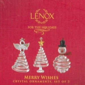 Lenox Merry Wishes Crystal Christmas Ornaments